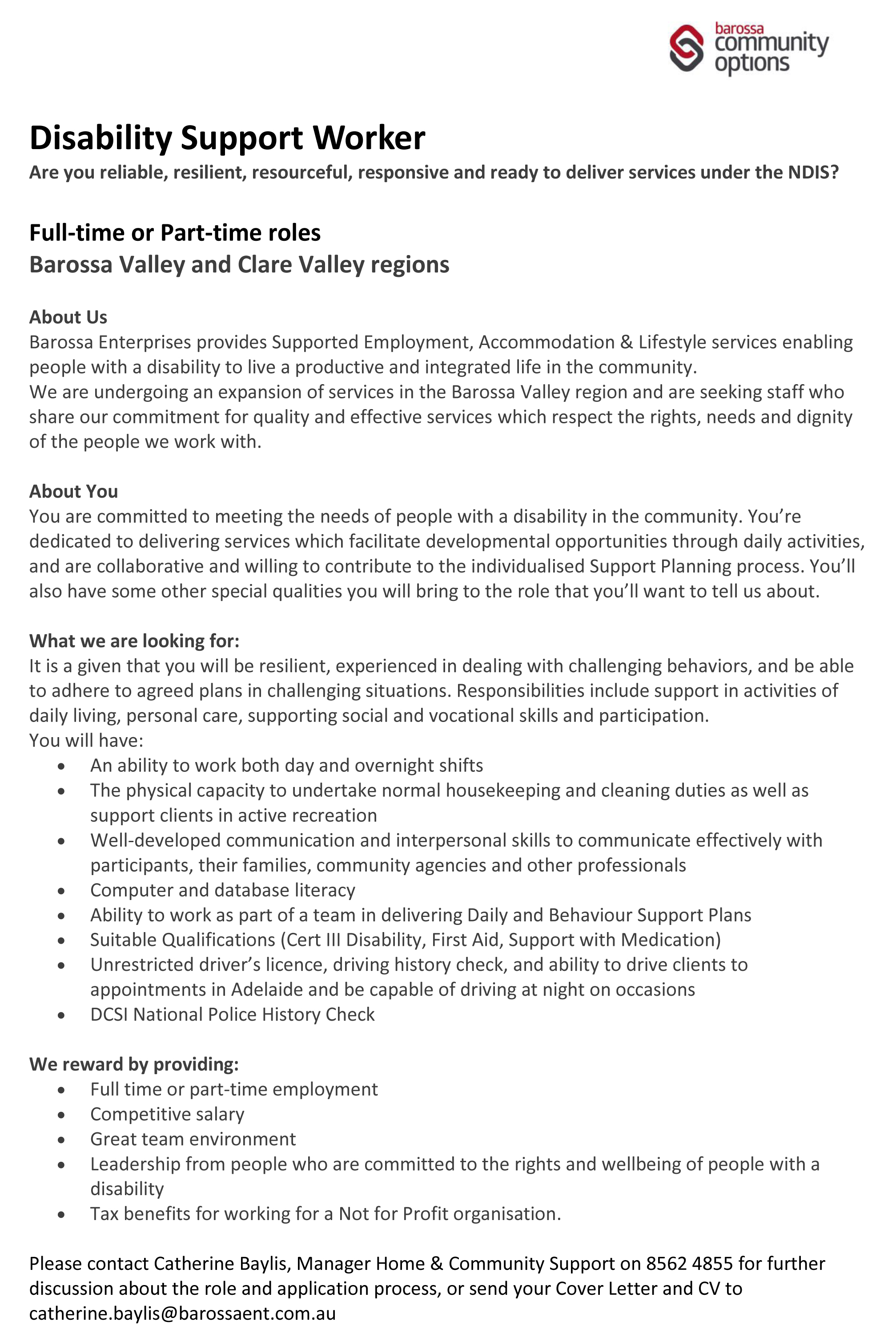 Disability Support Worker Advert - Clare Valley Enterprises